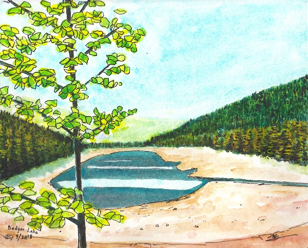 Watercolor painting of Badger Lake, Mt. Hood, OR