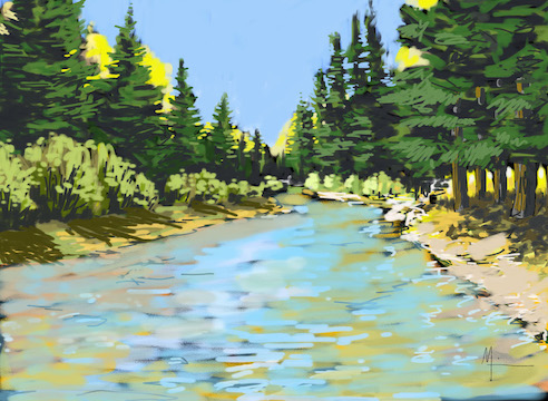 Alamosa River, Colorado, Rio Grande National Forest, 2019, Digital drawing.
