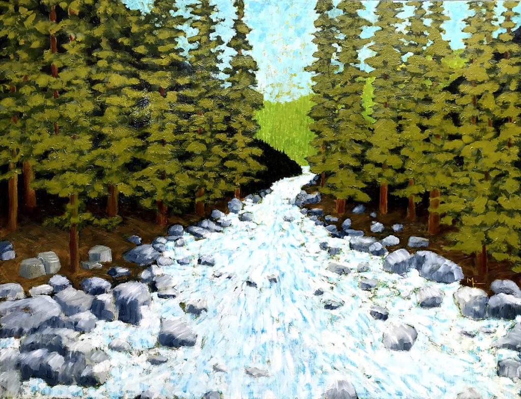 Oil painting of White River in a forest